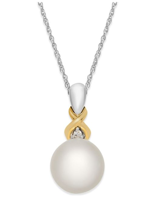 Macy's | Metallic Cultured Freshwater Pearl (8mm) And Diamond Accent Pendant Necklace In Sterling Silver And 14k Gold | Lyst