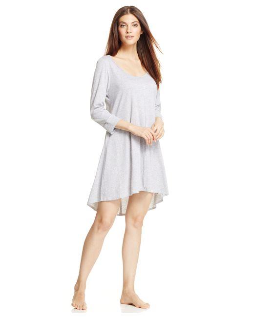 Lucky Brand | Gray 3/4 Sleeve Sleepshirt | Lyst