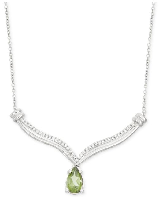 Macy's | Metallic Peridot (7/8 Ct. T.w.) And Diamond (1/10 Ct. T.w.) Necklace In Sterling Silver | Lyst