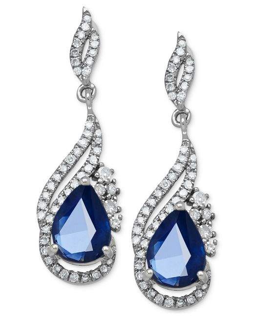 Macy's | Blue Sapphire (1-3/4 Ct. T.w.) And Diamond (1/3 Ct. T.w.) Drop Earrings In 14k White Gold | Lyst