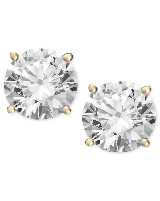 macy 39 s diamond stud earrings 2 ct t w in 14k gold or