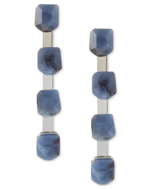 French Connection | Blue Silver-tone Stone Linear Earrings | Lyst