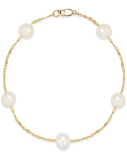 Macy's | Metallic Cultured Freshwater Pearl (7mm) Station Bracelet In 14k Gold | Lyst