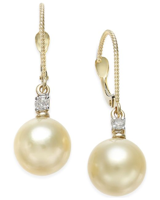 Macy's | Metallic Cultured Golden South Sea Pearl (9mm) And Diamond (1/10 Ct. T.w.) Drop Earrings In 14k Gold | Lyst