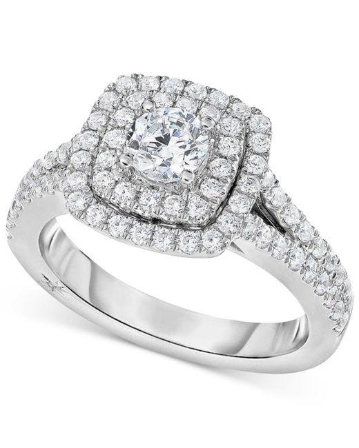 Marchesa | Metallic Certified Diamond Square Halo Engagement Ring (1-1/4 Ct. T.w.) In 18k White Gold | Lyst