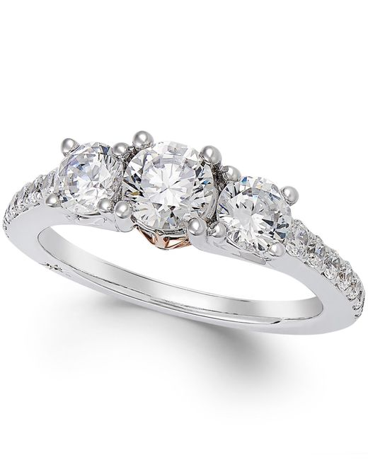 Marchesa | Metallic Diamond Three-stone Ring (1-1/2 Ct. T.w.) In 18k White Gold | Lyst