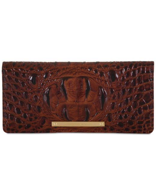 Brahmin Brown Ady Melbourne Croc Embossed Leather Wallet