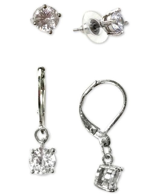 Charter Club - Metallic Silver-tone 2-pc. Set Crystal Stud & Drop Earrings, Created For Macy's - Lyst