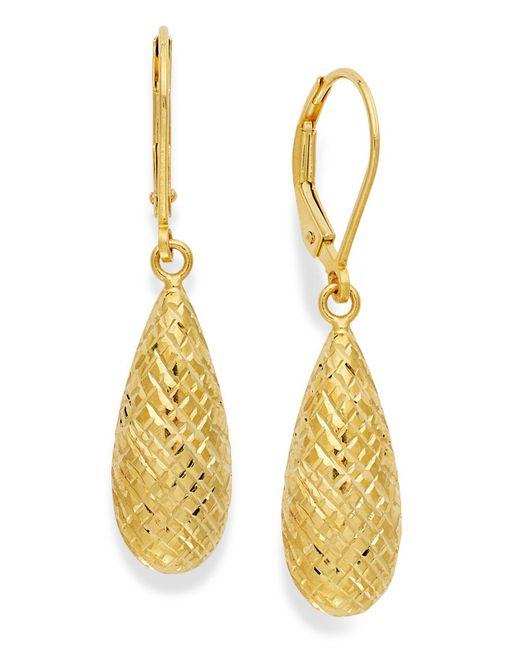 Giani Bernini - Metallic 18k Gold Over Sterling Silver Earrings, Diamond-cut Teardrop Leverback Earrings - Lyst