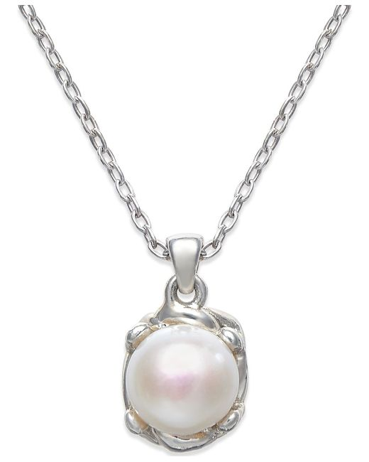 Macy's | Metallic Cultured Freshwater Pearl (10mm) Pendant Necklace In Sterling Silver | Lyst