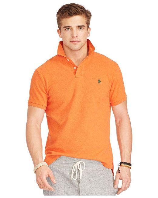 Polo Ralph Lauren | Orange Classic-fit Cotton Mesh Polo Shirt for Men | Lyst