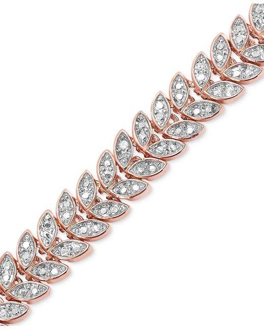 Macy's   Multicolor Diamond Accent Leaf Bracelet In 18k Rose Gold Over Brass   Lyst
