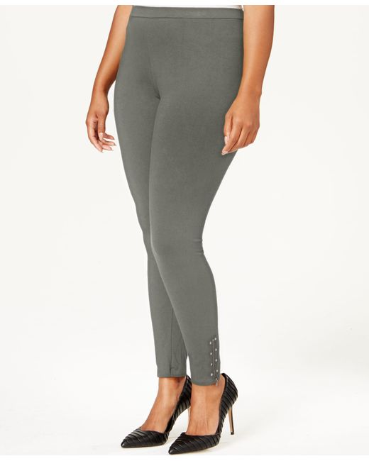 Style & Co. | Gray Plus Size Studded Zip-cuff Leggings, Only At Macy's | Lyst