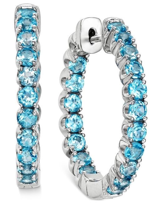 Macy's | Swiss Blue Topaz Inside-out Hoop Earrings (4 Ct. T.w.) In Sterling Silver | Lyst
