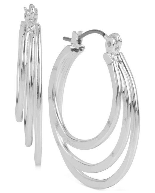 Robert Lee Morris | Metallic Silver-tone Triple Layer Hoop Earrings | Lyst