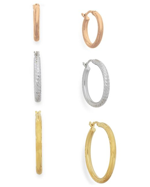 Macy's | Metallic Tri-tone Three-hoop Set In 14k Gold Vermeil | Lyst