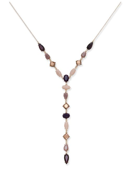 INC International Concepts - Purple Rose Gold-tone Beaded Lariat Necklace, - Lyst