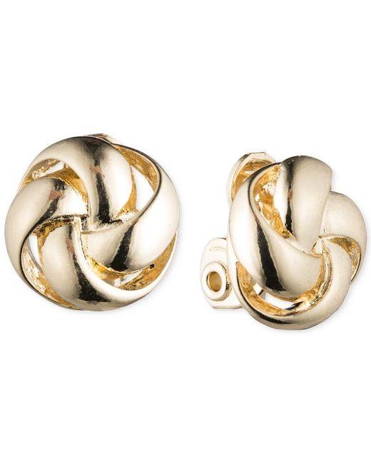 Anne Klein | Metallic Knot Clip-on Earrings | Lyst