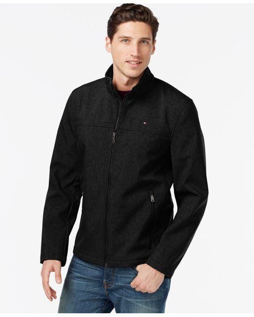 Tommy Hilfiger | Black Softshell Classic Zip Jacket for Men | Lyst