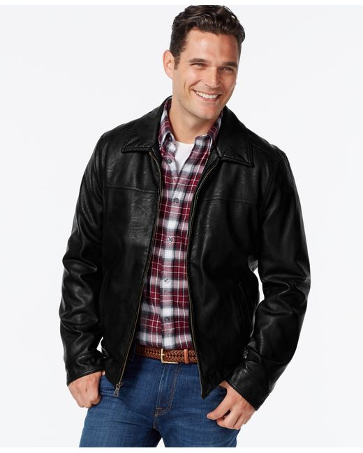 Tommy Hilfiger | Black Faux-leather Open-bottom Jacket for Men | Lyst