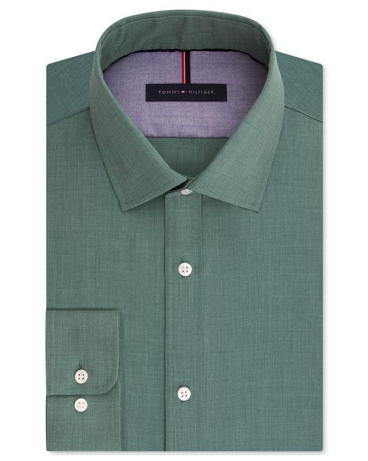 Tommy Hilfiger | Blue Men's Slim-fit Non-iron Soft Wash Solid Dress Shirt for Men | Lyst