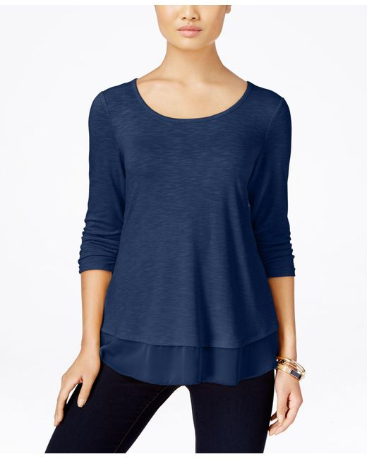 Style & Co. | Blue Chiffon-hem Top, Only At Macy's | Lyst