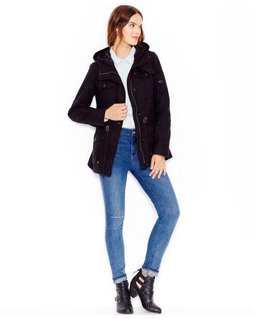 Levi's | Black Hooded Military Jacket | Lyst