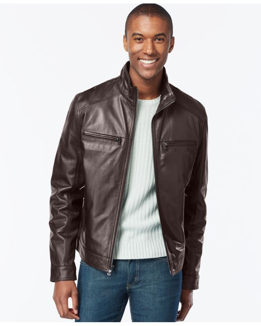Michael Kors | Brown Big And Tall Leather Jacket for Men | Lyst