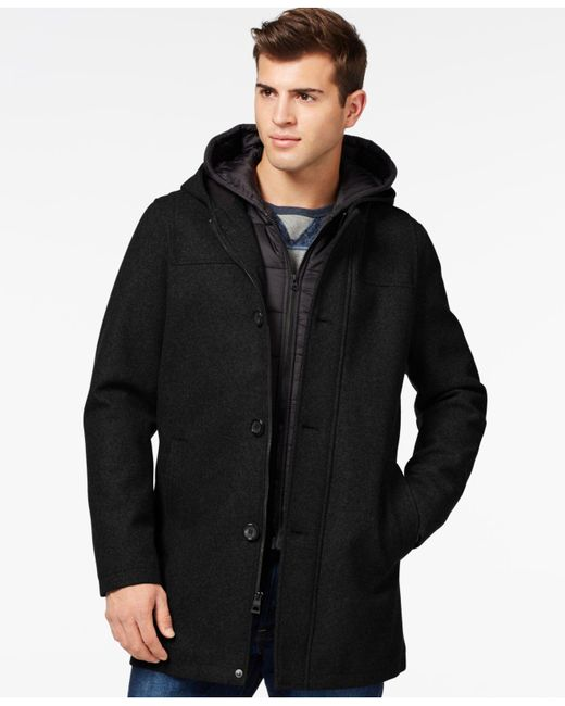 Guess | Black Toggle Jacket With Attached Hood for Men | Lyst