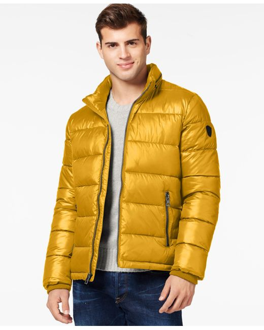 Guess | Yellow Basic Puffer Jacket for Men | Lyst