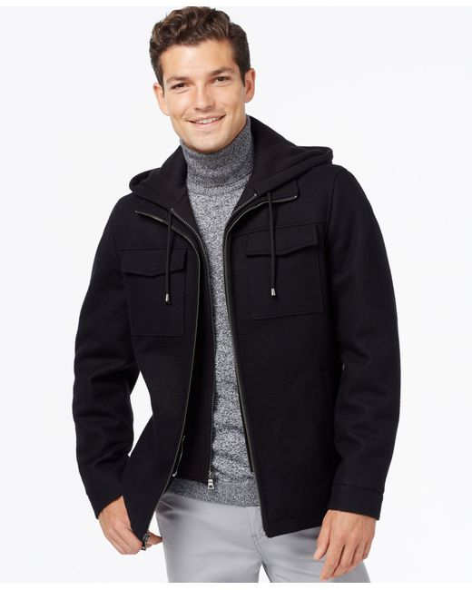 INC International Concepts | Black Hooded Wool-blend Jacket, Only At Macy's for Men | Lyst