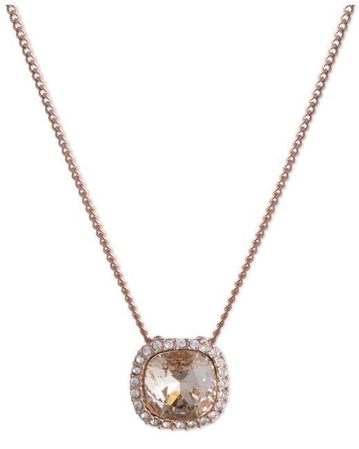 Givenchy | Pink Rose Gold-tone Crystal Cushion Pendant Necklace | Lyst