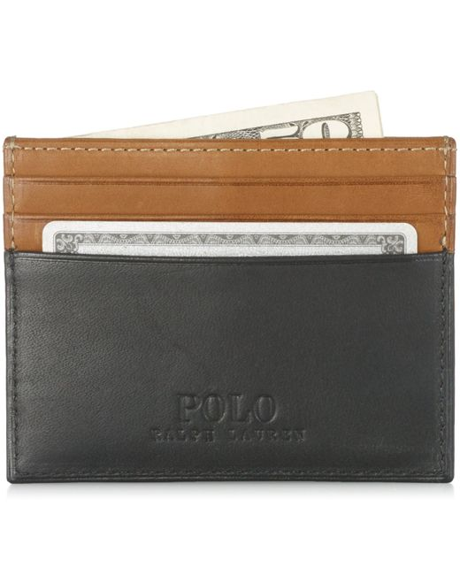 Polo Ralph Lauren | Black Two-toned Leather Card Case for Men | Lyst