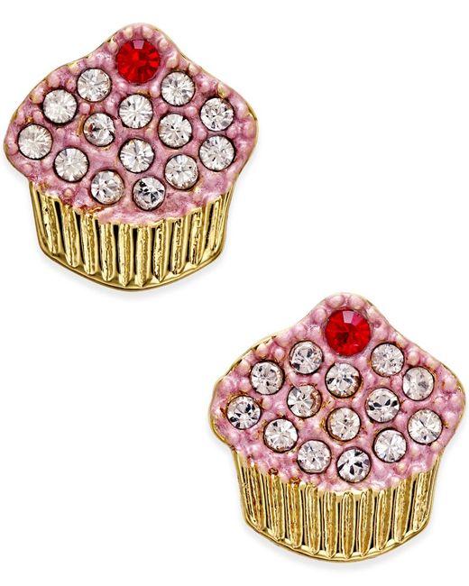Kate Spade   Metallic Gold-tone Pave Cupcake Stud Earrings   Lyst