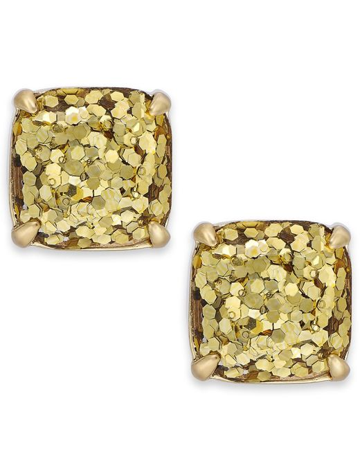 Kate Spade | Metallic Gold-tone Small Square Stud Earrings | Lyst