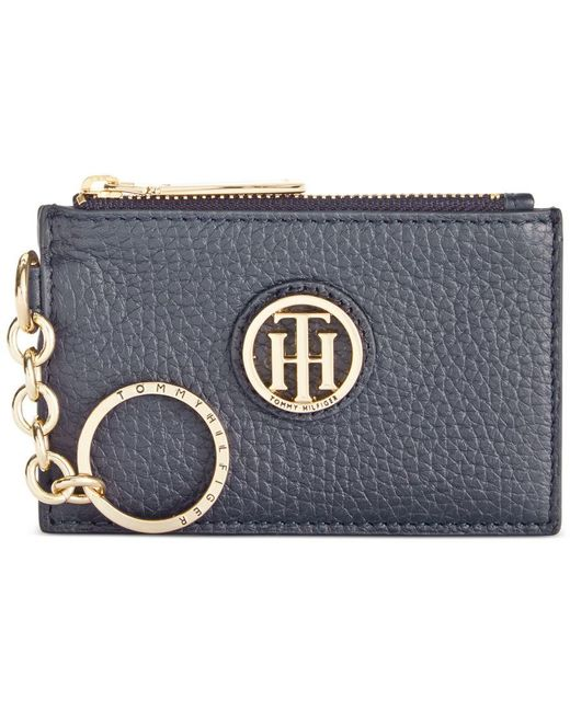 Tommy Hilfiger | Blue Lucky Charm Pebble Leather Id Coin Purse | Lyst