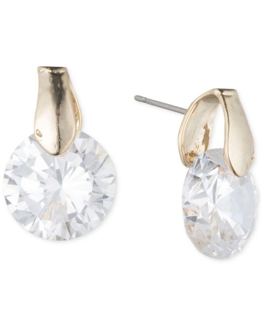 Anne Klein | Metallic Round Crystal Stud Earrings | Lyst