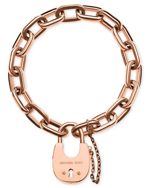 Michael Kors | Pink Chain Link Padlock Bracelet | Lyst