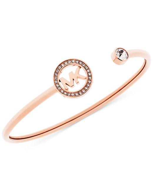 Michael Kors | Pink Crystal Logo Cuff Bangle Bracelet | Lyst