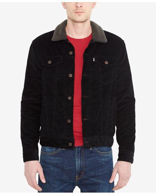 Levi S Sherpa Lined Denim Jacket In Black For Men Black