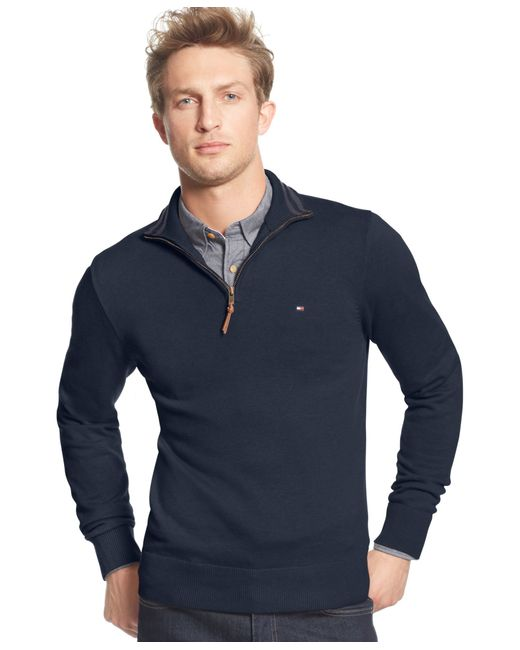 Tommy Hilfiger | Blue Signature Solid Quarter-zip Sweater for Men | Lyst