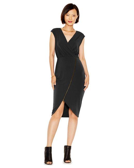 RACHEL Rachel Roy | Black Asymmetrical-zip Jersey Dress | Lyst