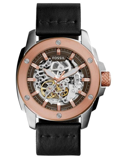 Fossil | Pink Men's Automatic Modern Machine Black Leather Strap Watch 50mm Me3082 for Men | Lyst