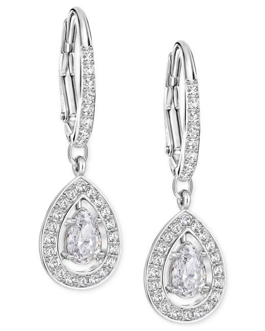 Swarovski - Metallic Silver-tone Crystal Pavé Drop Earrings - Lyst