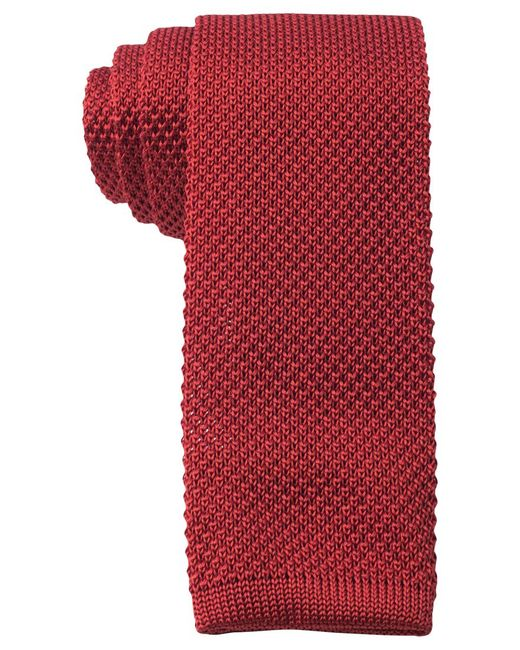 Tommy Hilfiger | Red Knit Solid Slim Tie for Men | Lyst