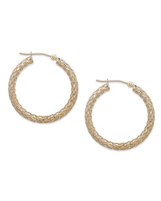 Macy's - Metallic 14k Gold Earrings, Diamond Cut Pierced Hoop Earrings - Lyst