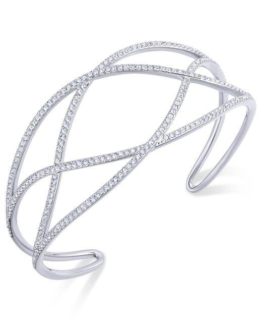Danori - Metallic Pavé Laurel Cuff Bracelet - Lyst