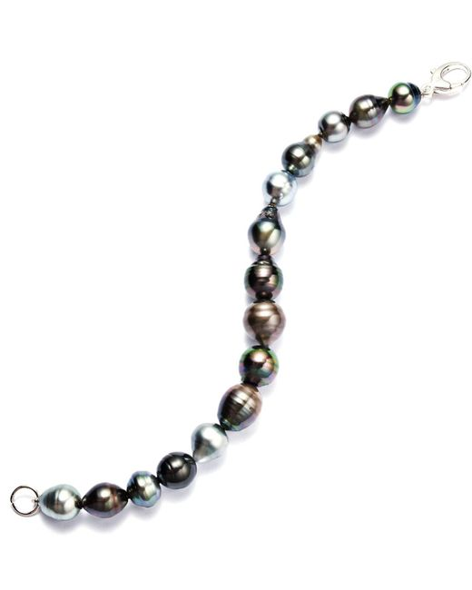 Macy's Black Sterling Silver Bracelet, Multicolor Cultured Tahitian Pearl Baroque Bracelet (9-11mm)
