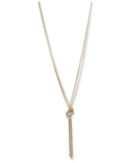 Kenneth Cole | Metallic Two-tone Knotted Chain Y-necklace | Lyst