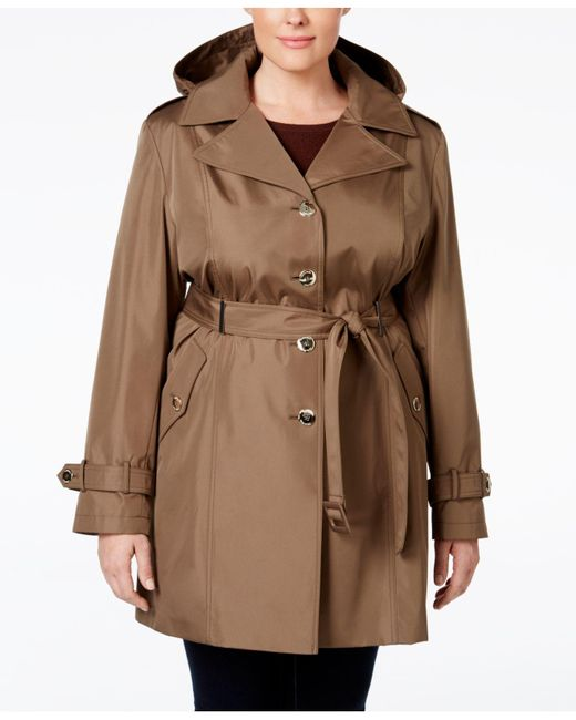 Calvin Klein | Brown Plus Size Hooded Single-breasted Trench Coat | Lyst